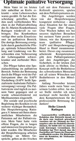 Leserbrief Ratinger Wochenblatt